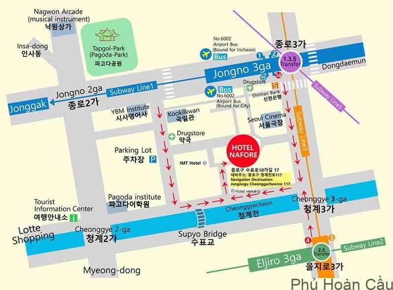 Bản đồ chỉ đường Hàn Quốc