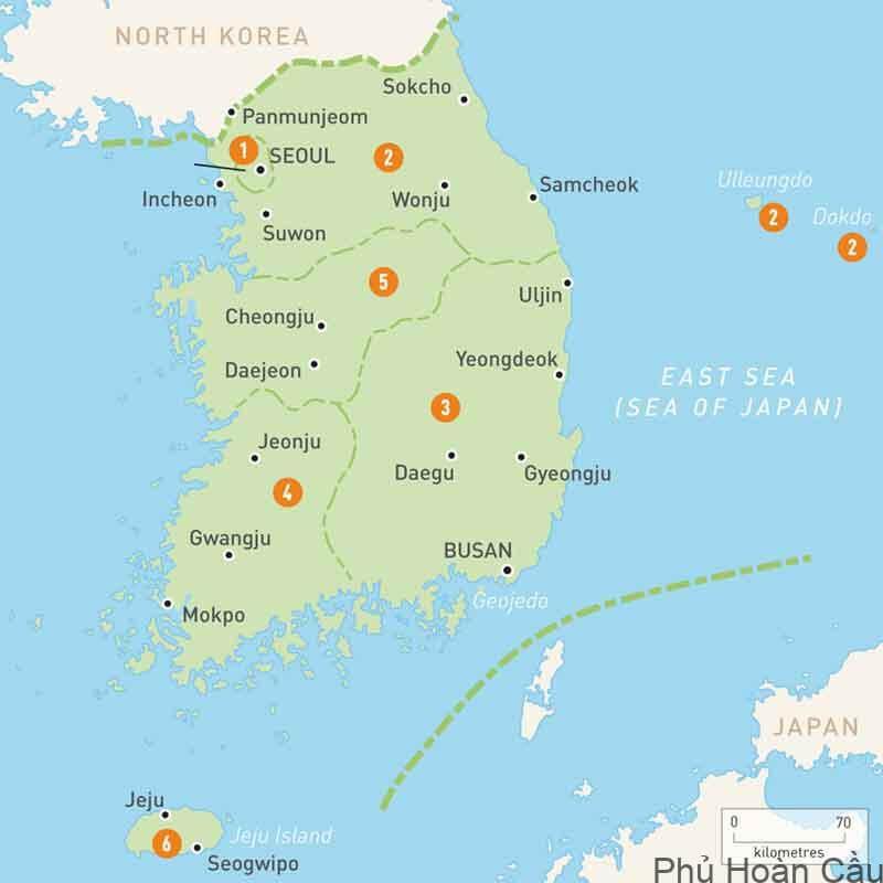 Nghiên cứu vài nét về bản đồ Hàn Quốc