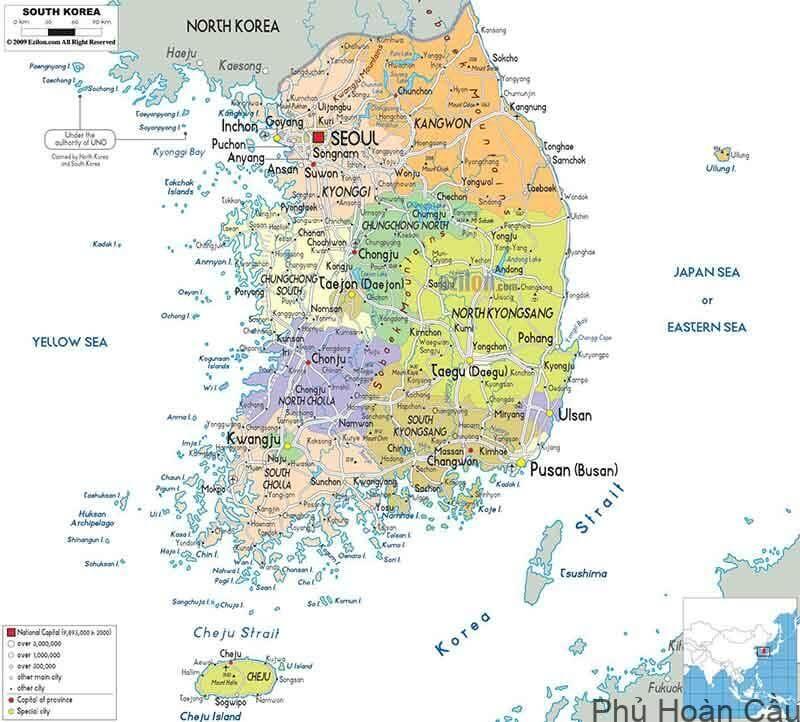 Bản đồ hành chính Hàn Quốc