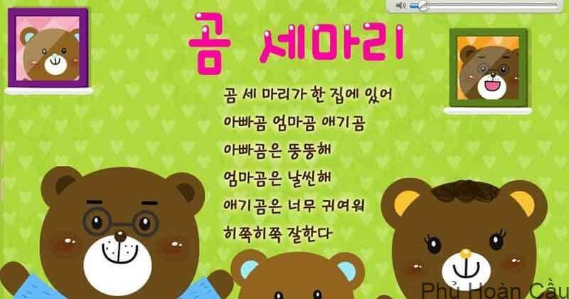 Mẹo học bài hát Ba con gấu bằng tiếng Hàn cực dễ dàng
