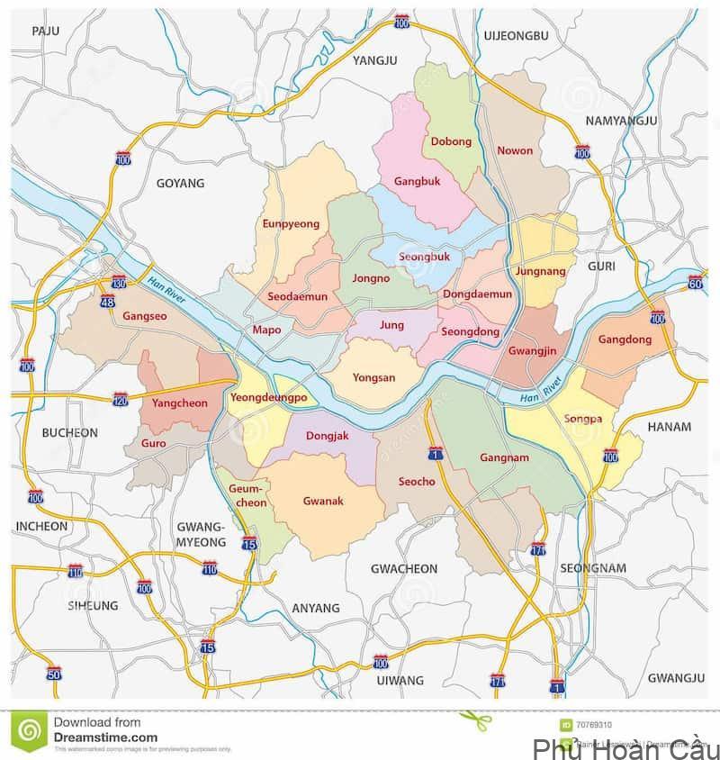 Bản đồ các quận Seoul