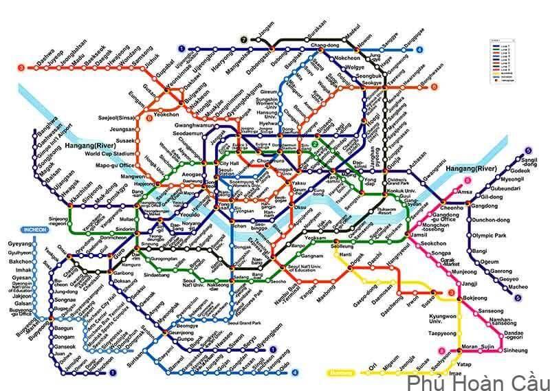Bản đồ tàu điện ngần Seoul