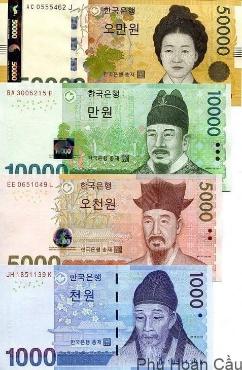 hình ảnh tiền giấy Hàn Quốc đang lưu thông