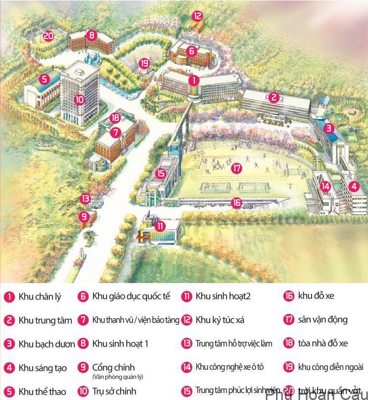 Toàn cảnh khuôn viên Đại học Khoa học kỹ thuật Busan